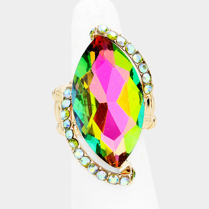 BIG Gold Vibrant Vitrail Green Crystal Stretch Cocktail Ring