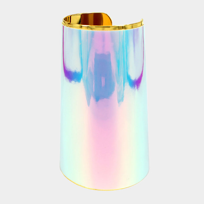 OVER SIZED Long Hologram AB Gold Cuff Bangle