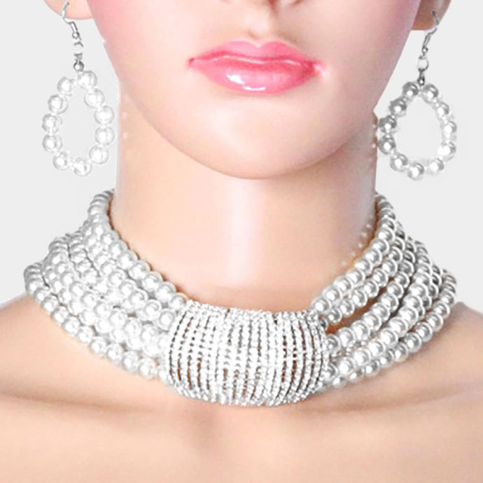 STATEMENT GLAM Silver White Pearl Crystal Bar Choker Necklace Set