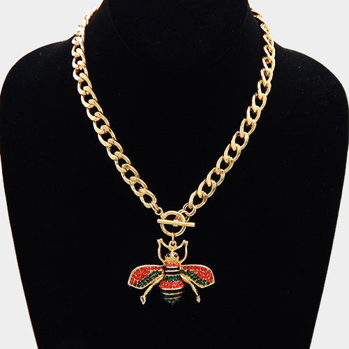 Quirky Statement Gold Red Multi Toggle Honey Bee Necklace