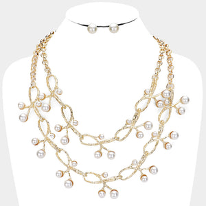 Elegant Unusual Statement Gold 2 row Pearl Branch Necklace Set