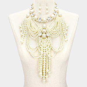 LUXE Fabulous Statement Gold Crystal & Pearl Bib Necklace Set