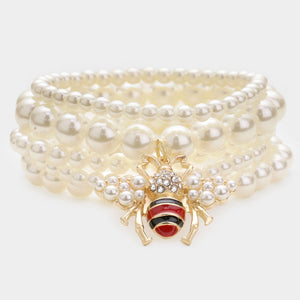 Statement Gold Cream Pearl Honey Bee Layer Stretch 5 Bracelet Set