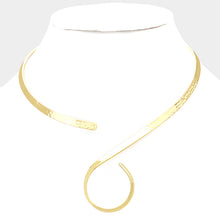 HOT Celeb Gold hammered Swirl Cuff Style Open Choker Necklace