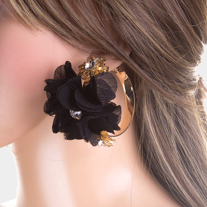 BEAUTIFUL Gold Black Flower Crystal Big Hoop Cocktail Earrings