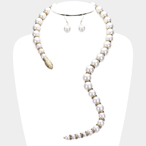 STATEMENT SNAKE White Pearl Choker Collar Long Open Necklace Set