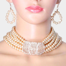 STATEMENT GLAM Wide Gold Pearl Crystal Bar Choker Necklace Set