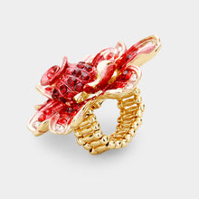 Huge Gold Red Crystal Flower Stretch Cocktail Ring