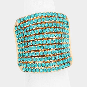 Statement Glam Gold Aqua Pave Crystal Big Stretch Cocktail Ring