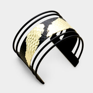 Statement Celeb Gold Dipped Black Cuff Bangle