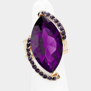 BIG Gold Purple Amthyst Crystal Stretch Cocktail Ring