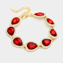 LA Collection Statement Gold Siam Red Crystal Cocktail Bracelet
