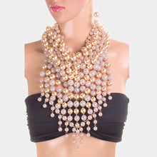 LUXE Statement Gold Cream Ash Pink Pearl Tassel Bib Necklace Set