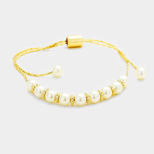 UNDERSTATED Gold Cream Tiny Pearl Cinch Adjustable Bracelet