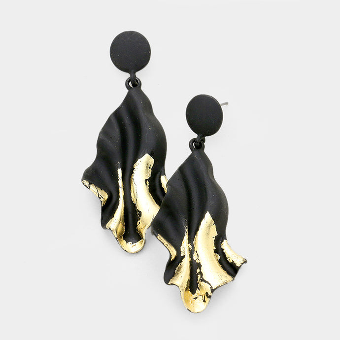 Gold Dipped Big 2.6 inch Abstract Earrings