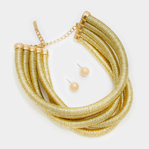 POPULAR Statement Gold 5 Layer Metallic Choker Necklace Set