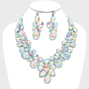 LUXE Whimsical Silver AB Crystal Glam Cocktail Necklace Set