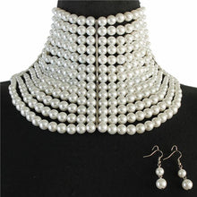 LUXE Statement Silver White Pearl Choker Bride Necklace Set
