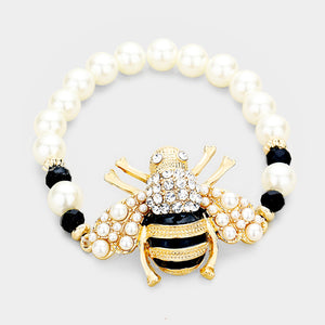 Gold Black Honey Bee Cream Pearl Crystal Stretch Bracelet