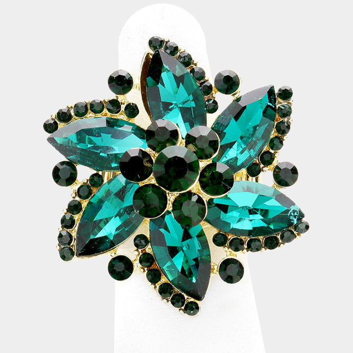 BIG Gold Crystal Emerald Green Stretch Flower Cocktail Ring