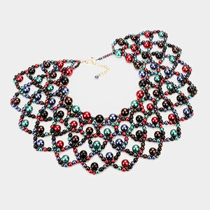 Whimsical Statement Pearl Bib Choker Necklace Set