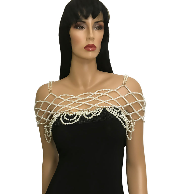 LUXE Gatsby Gold Cream Pearl Necklace Off The Shoulder Body Chain