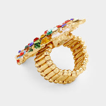 Statement Gold Crystal Huge Christmas Tree Stretch Ring