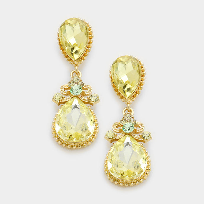 Gold Yellow Jonquil Crystal Cocktail Earrings