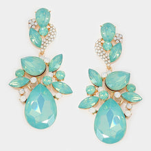 "LUXE Gold Pacific Opal Crystal Huge 3"" Cocktail Earrings"