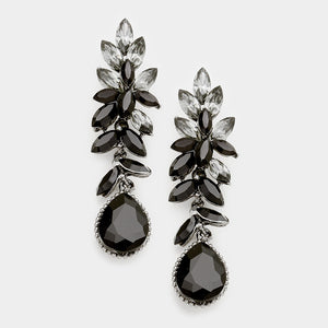 "Silver Jet & Black Diamond Crystal Big 2.5"" Cocktail Earrings"