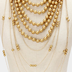 LUXE Statement Runway Matte Gold Faux Pearl Bib Necklace Set