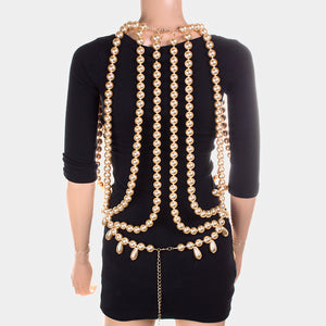 COUTURE Gold Cream Front & Back Pearl Necklace Ultimate Body Chain