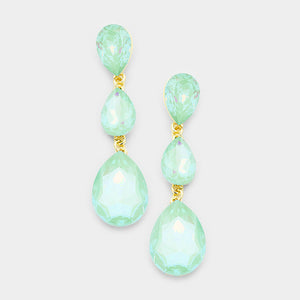 "RARE Gold Pacific Opal Crystal Big 3"" Cocktail Earrings"