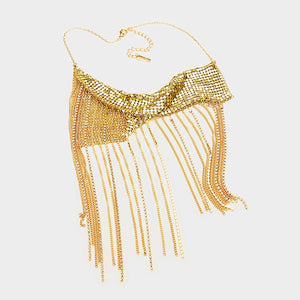 CONTEMPORARY Statement Gold Crystal Mesh Tassel Necklace Set