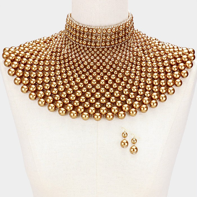 LUXE SPECTACULAR Statement Gold Pearl Choker Cape Necklace