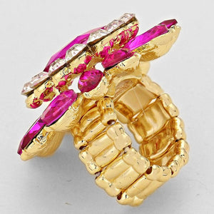 STATEMENT Gold Fuchsia Crystal Stretch Cocktail Ring