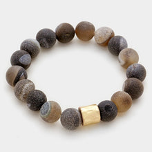 Gold Black Brown Semi Precious Stone Stretch Bracelet