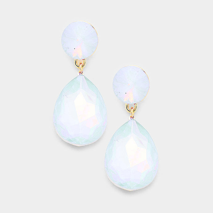 WHIMSICAL Gold White Opal Crystal 2 inch Cocktail Bridal Earrings