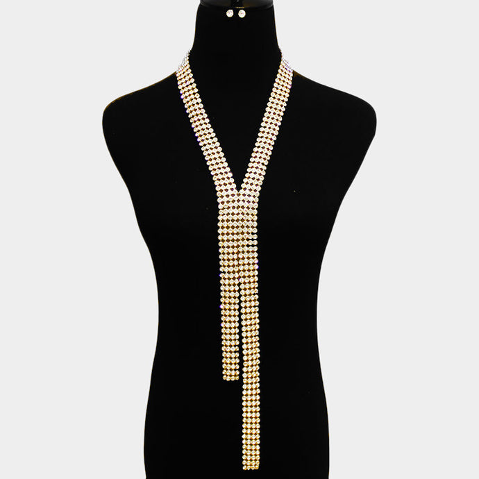 Statement Glam Pave Crystal Gold Long Y Necklace Set