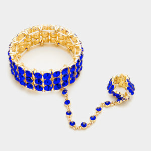 Gold Blue Sapphire Crystal Bracelet Hand Chain Stretch Ring