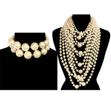 LUXE Amazing Statement Gold Pearl Choker Collar 2 Necklace Set