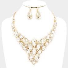 LUXE Statement Glam Gold Crystal Bib Cocktail Bridal Necklace Set