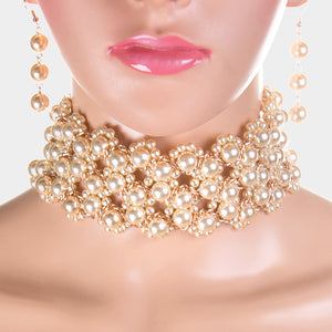 LUXE  Gold Cream Pearl Wide Choker Necklace Set