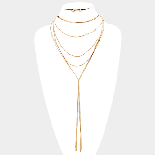 HOT Super Shine Gold Long Omega Layered Y Choker Necklace Set