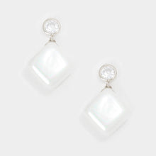 UNDERSTATED Silver CZ & Pearl Cube Cocktail Bridal Earrings