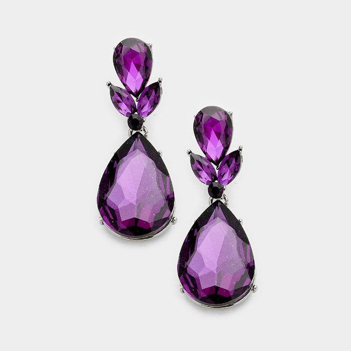 Silver Purple Amethyst Crystal 2 inch Cocktail Earrings