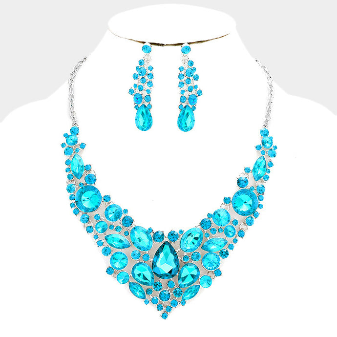 Statement Silver Aqua Crystal Short Cocktail Necklace Set