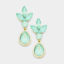 WHIMSICAL Gold Pacific Opal Crystal 2 inch Cocktail Earrings