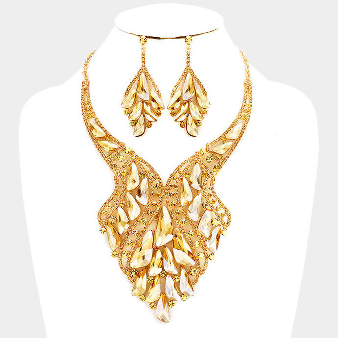 LUXE Statement Couture Gold Topaz Crystal Cocktail Necklace Set