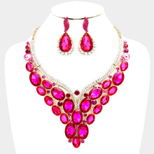 LUXE Gold Fuchsia Clear Crystal Cocktail Party Necklace Set